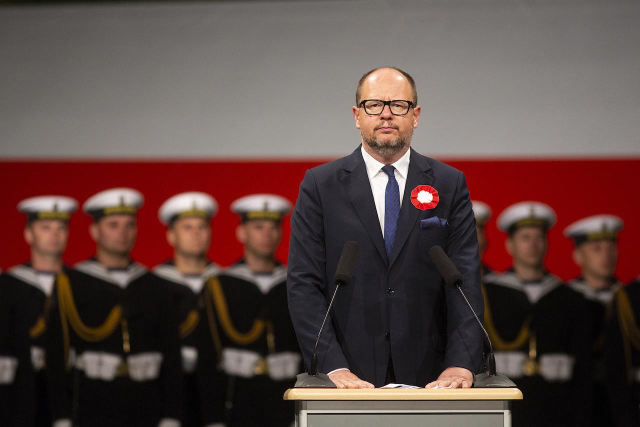 Prezydent Paweł Adamowicz podczas obchodów 79. rocznicy wybuchu II wojny światowej na Westerplatte, 1 września 2018 roku